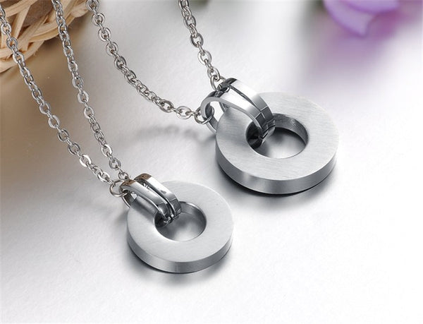 Love Forever Round Couple Necklace