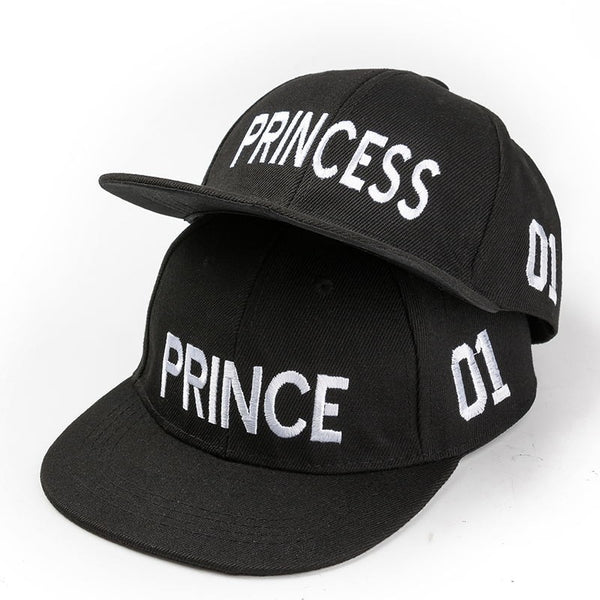 PRINCE PRINCESS Embroidery Couple Caps