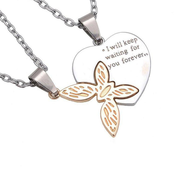 I Will Keep Waiting For You Butterfly Couple Necklace