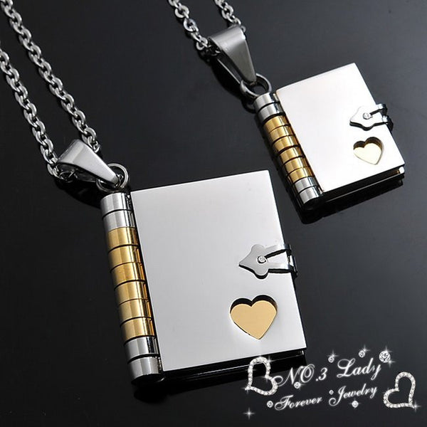 "Couple Necklace ""Love Letter"" Book Pendants Korean Stainless Steel Lovers Jewelry - CoupleStuffs.com - Couple's Super Shop for Stuffs!"