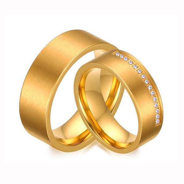 Gold-Color Couple Ring for Women and Men AAA+ Cubic Zirconia Alliance Love Ring