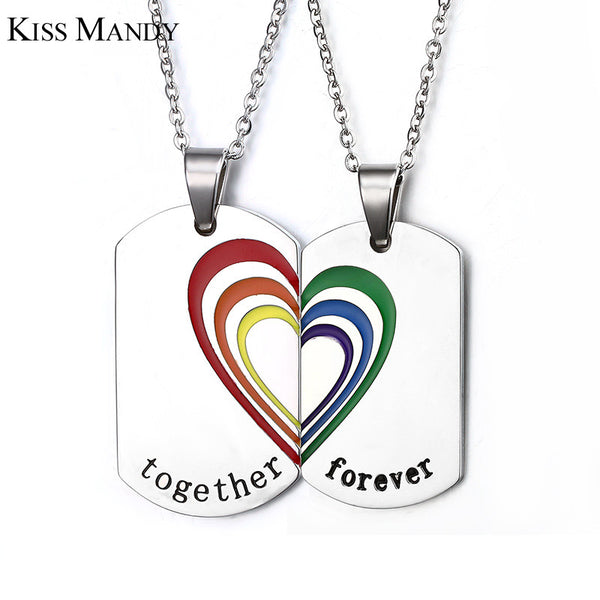 Couple Necklace Pieces Pendant Set Heart Stainless Steel Together Forever - CoupleStuffs.com - Couple's Super Shop for Stuffs!