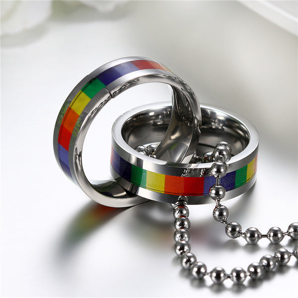 Rainbow Ring Couple Necklaces
