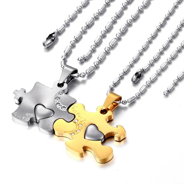 2 piece New Fashion 316l Stainless Steel Love Puzzle Pendant Couple Necklaces for Lover Valentine Gift (One Pair) - CoupleStuffs.com - Couple's Super Shop for Stuffs!