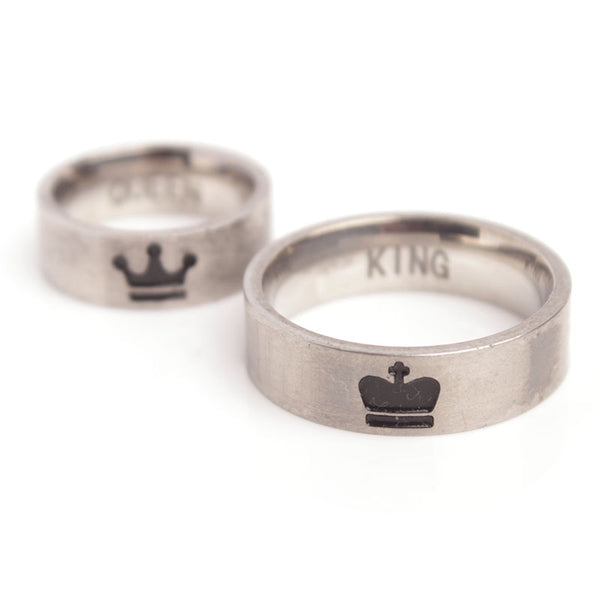 King And Queen Crown Couple Rings