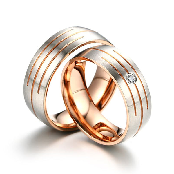 Parallel Rose Gold Couple Rings
