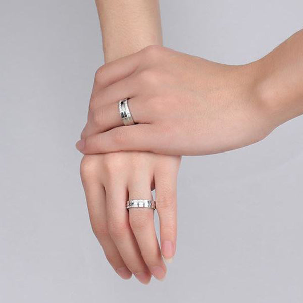 Crystal Silver Couple Rings