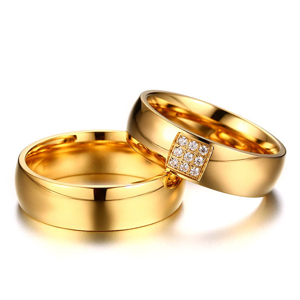 Pure Gold Crystal Couple Rings