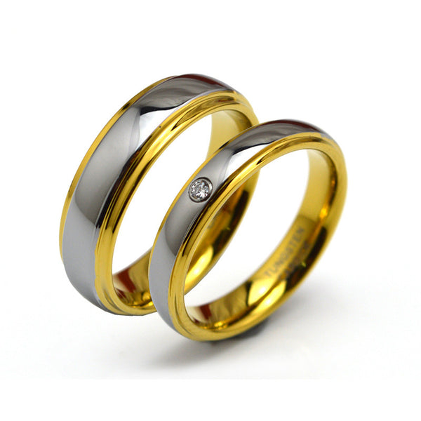 Couple Ring 18K Gold Plated Carbide Tungsten Set with 3A Stone - CoupleStuffs.com - Couple's Super Shop for Stuffs!