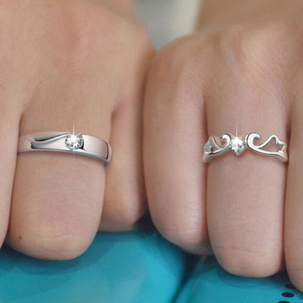 Charm Open Wings Couple Rings Set