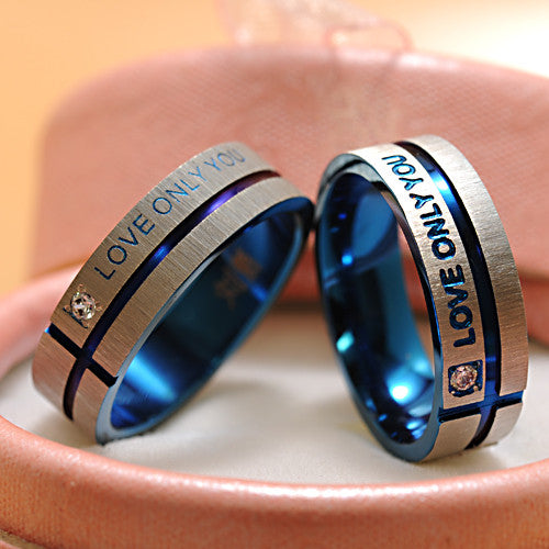 "Couple Ring Jewelry Stainless Steel Simple Circle ""Love Only You"" - CoupleStuffs.com - Couple's Super Shop for Stuffs!"