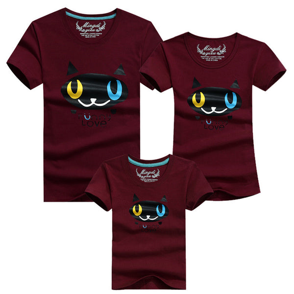 Family Shirt Matching Clothes Summer Short Sleeves Family Cartoon Outfits