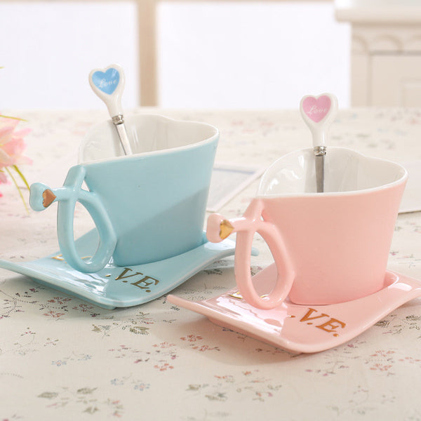 Couple Mugs Zakka Cute Lovers Heart Ceramic - CoupleStuffs.com - Couple's Super Shop for Stuffs!