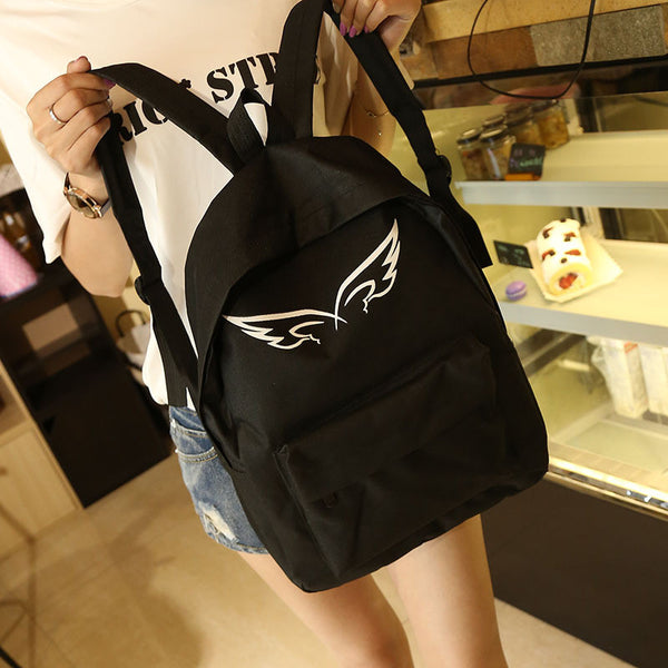 Vintage Unisex Couple WING Canvas Backpack Rucksack College Shoulder School Bag - CoupleStuffs.com - Couple's Super Shop for Stuffs!