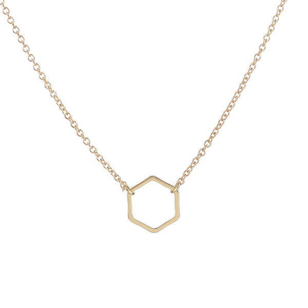Couple Necklace Geometric Gold Plated Hexagon Simple Long Chain Jewelry - CoupleStuffs.com - Couple's Super Shop for Stuffs!