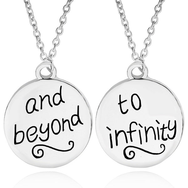 Couple Necklace To Infinity And Beyond Inspired Letter Silver With Chain Colar