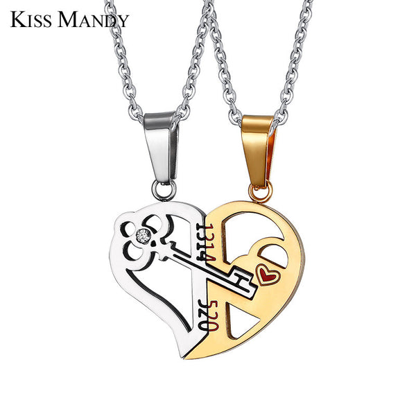 Couple Necklace Pieces Per Set Heart Shpaes Statement Jewelry Romantic