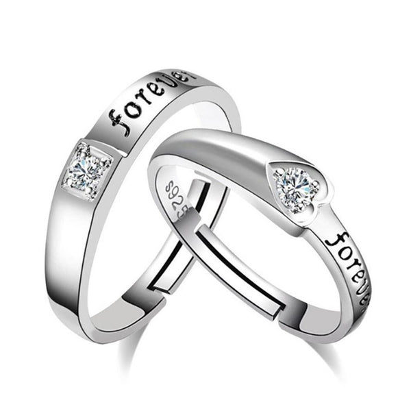 FOREVER Silver Couple Rings Set