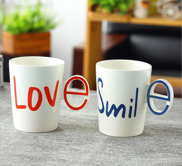 LOVE&SMILE Hand grip Couple Mugs
