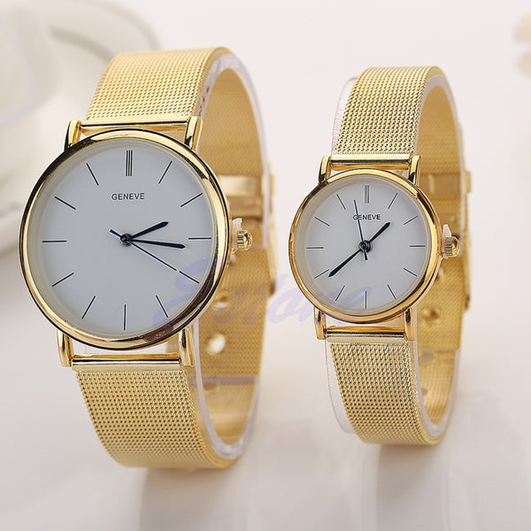 Gold and White Couple Watch