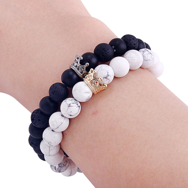 Natural Stone Crown Beads Charms Couple Bracelets