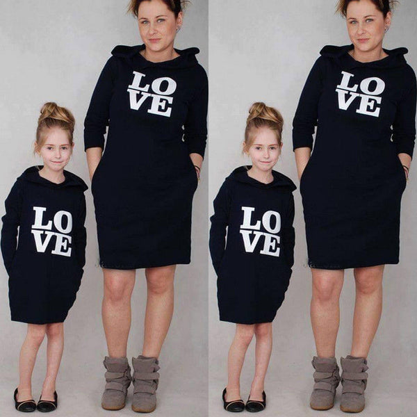 LOVE Hoodie Dress Family Matching Outfits