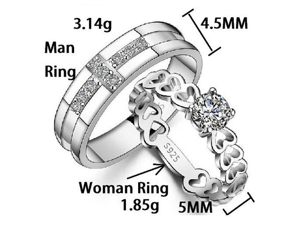 Heart Chain Couple Rings