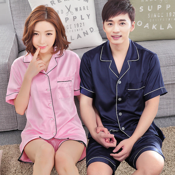 Shorts and Short Sleeves Silk Couple Pajamas
