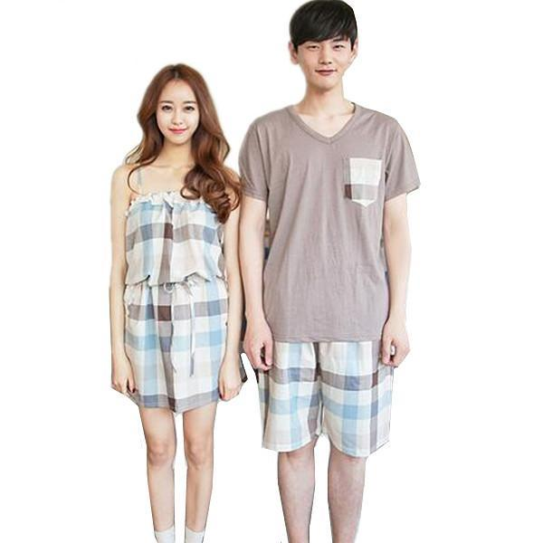 Fashion New plaid Couple Pajamas