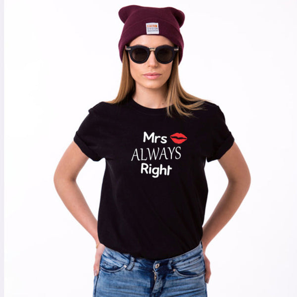 Mr Right and Mrs Always Right Couple Shirts