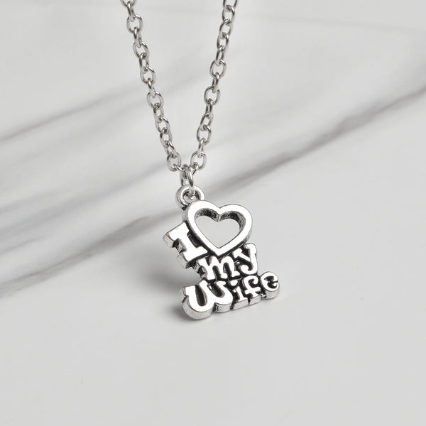 """I Love My Husband"" ""I Love My Wife"" Couples Necklace"