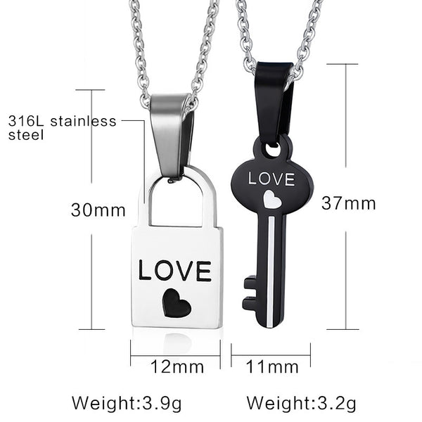 Love Heart Lock and Key Couple Necklace