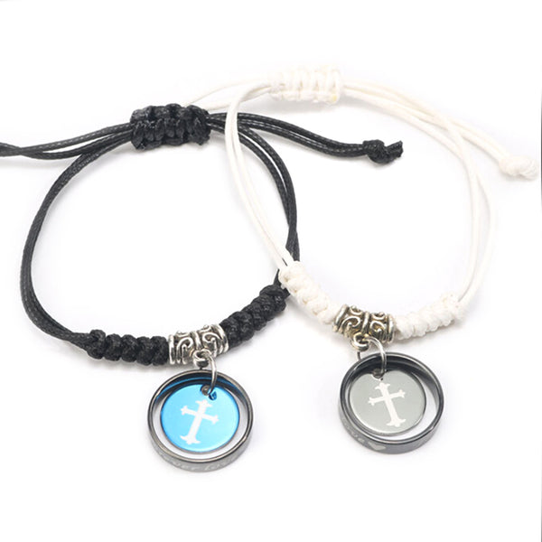 Handmade Black And White Couples Bracelets Round Shaped Pendant