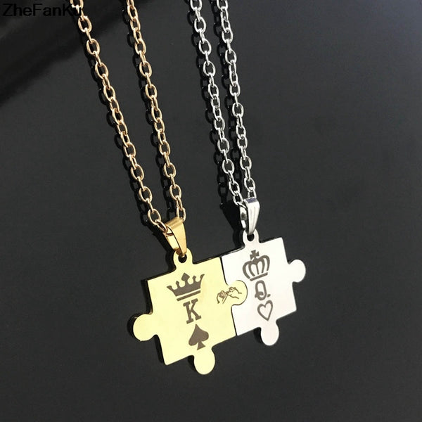 King and Queen Puzzle Couple Necklace
