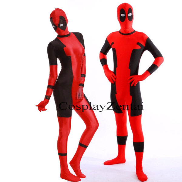 Couple Pajama Deadpool Black and Red Spandex Bodysuits Costume - CoupleStuffs.com - Couple's Super Shop for Stuffs!