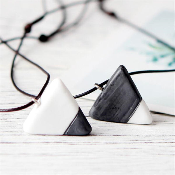White and Black Triangle Couple Necklace