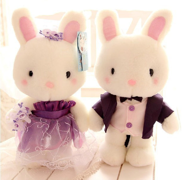 Couple Dolls Blue and white cute bunny baby small rabbit plush toy