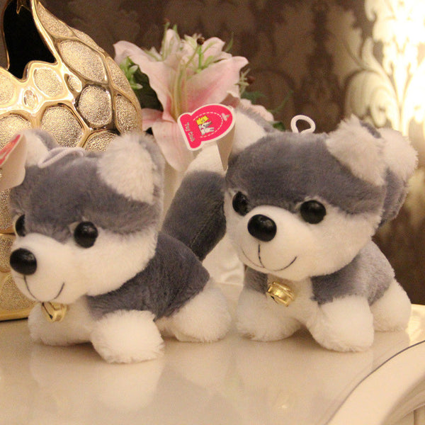 Couple Dolls Cute Dog With Bell Husky Plush Toys - CoupleStuffs.com - Couple's Super Shop for Stuffs!