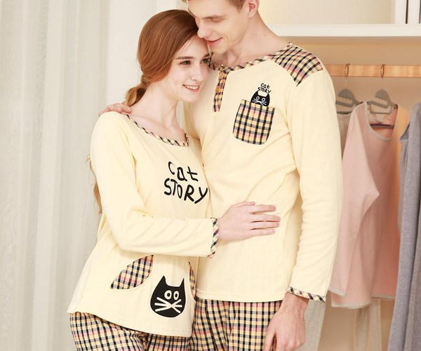 Couple Pajama Sleepwear Suit Cotton Plaid Sports Suit Spring Gym Top and Pants - CoupleStuffs.com - Couple's Super Shop for Stuffs!