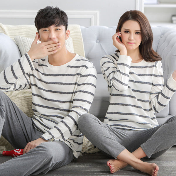 Couple Pajama Stripe Lounge Pant Tops 2 Piece Sets Sleep Wear - CoupleStuffs.com - Couple's Super Shop for Stuffs!