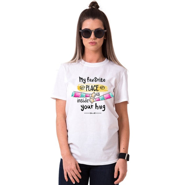 """My Favourite Place is Inside Your Hug"" Couple T-Shirt"