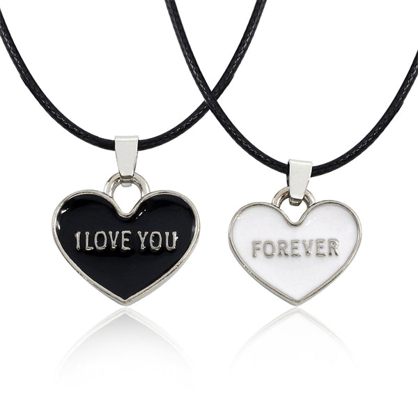 I Love You Forever Black and White Heart Couple Necklace