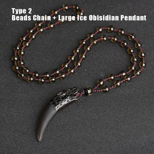 Natural Stone Black And Ice Obsidian Wolf Tooth Couple Necklace
