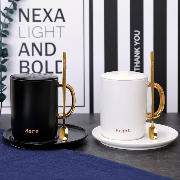 Elegant Black and White Couple Mugs