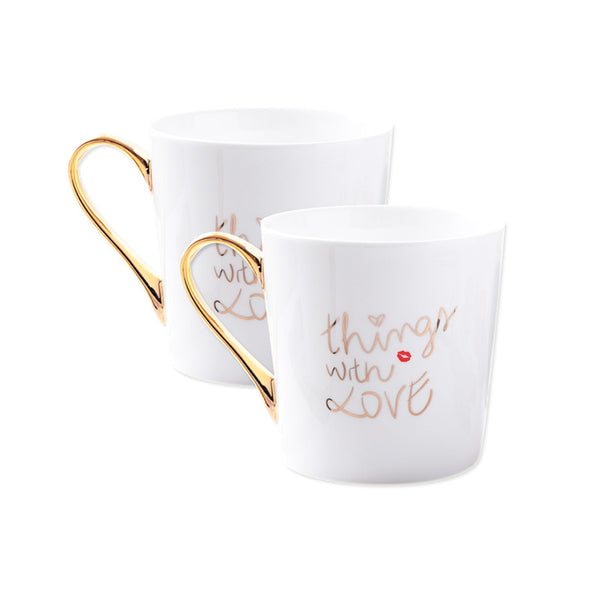 Gold Things with Love Couple Mugs