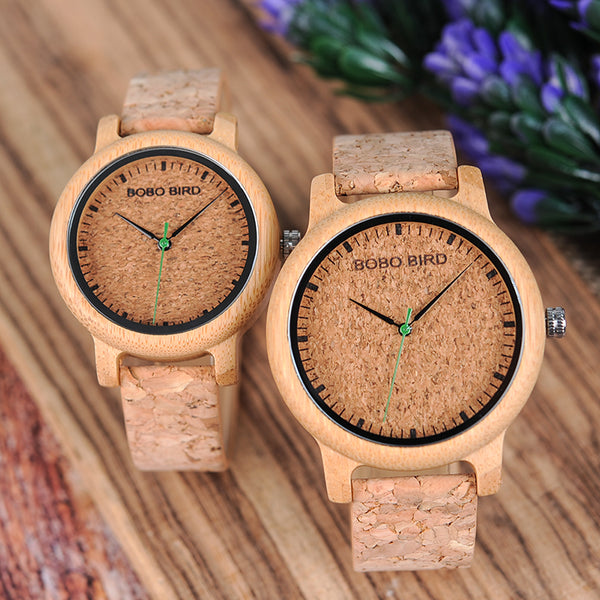 Bamboo Wood Cork Couple Watch