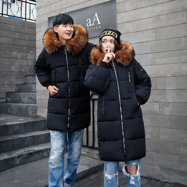 Brown Black Fur Collar Winter Couple Jackets