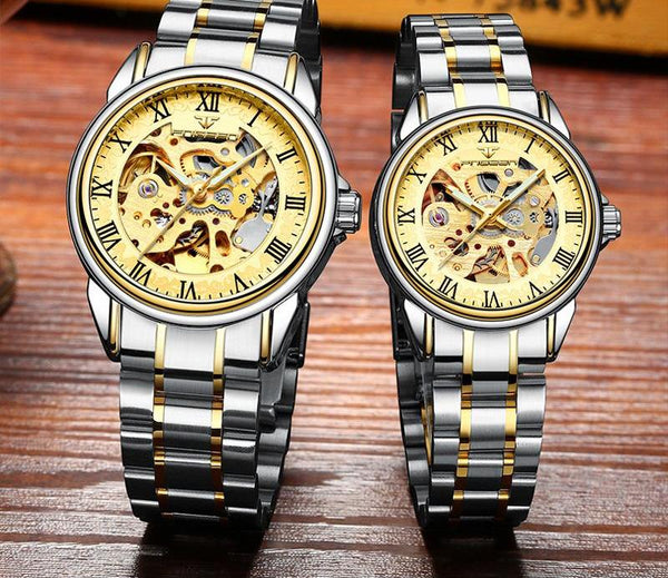 Mechanical Two-tone Couple Watch