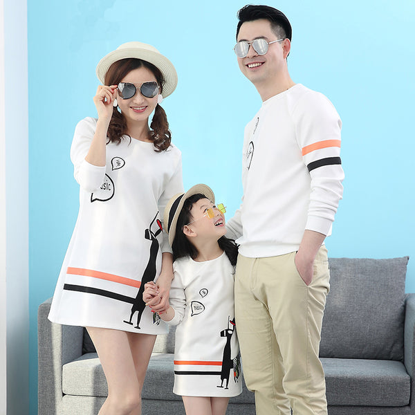 Long Sleeves White Black Orange Line Patter Couple Shirt