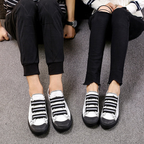 Black Sole Canvas Couple Shoes